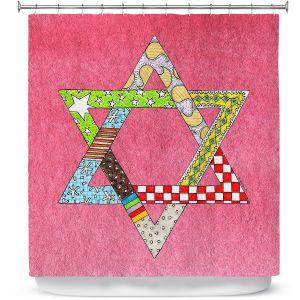 Premium Shower Curtains | Marley Ungaro - Star of David Pink | Star of David Holidays Channuka