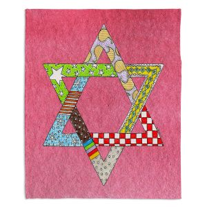 Decorative Fleece Throw Blankets | Marley Ungaro - Star of David Pink | Star of David Holidays Channuka