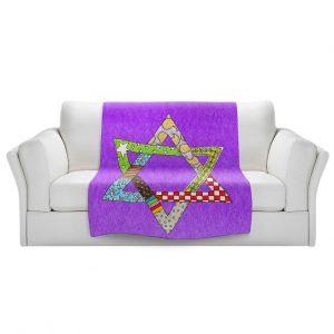 Artistic Sherpa Pile Blankets   Marley Ungaro - Star of David Purple   Star of David Holidays Channuka