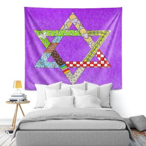 Artistic Wall Tapestry | Marley Ungaro - Star of David Purple | Star of David Holidays Channuka