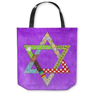 Unique Shoulder Bag Tote Bags | Marley Ungaro - Star of David Purple | Star of David Holidays Channuka