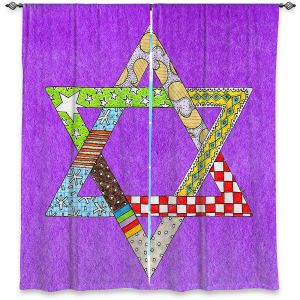 Decorative Window Treatments | Marley Ungaro - Star of David Purple | Star of David Holidays Channuka