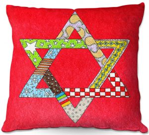 Throw Pillows Decorative Artistic | Marley Ungaro - Star of David Red | Star of David Holidays Channuka