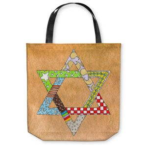Unique Shoulder Bag Tote Bags | Marley Ungaro - Star of David Tan | Star of David Holidays Channuka