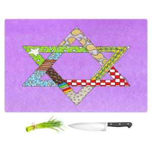 Artistic Kitchen Bar Cutting Boards | Marley Ungaro - Star of David Violet | Star of David Holidays Channuka