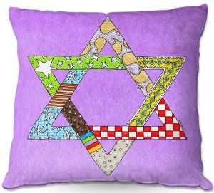 Throw Pillows Decorative Artistic | Marley Ungaro - Star of David Violet | Star of David Holidays Channuka