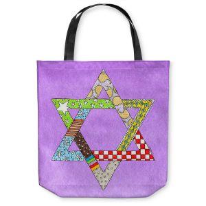 Unique Shoulder Bag Tote Bags | Marley Ungaro - Star of David Violet | Star of David Holidays Channuka