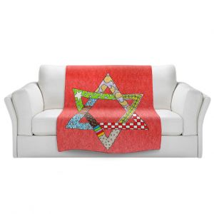 Artistic Sherpa Pile Blankets   Marley Ungaro - Star of David Watermelon   Star of David Holidays Channuka