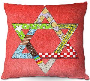 Decorative Outdoor Patio Pillow Cushion | Marley Ungaro - Star of David Watermelon | Star of David Holidays Channuka