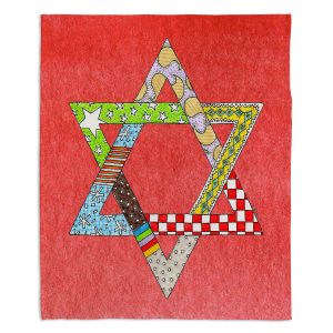 Artistic Sherpa Pile Blankets | Marley Ungaro - Star of David Watermelon | Star of David Holidays Channuka