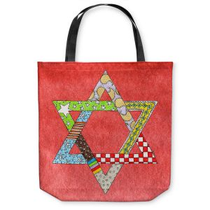Unique Shoulder Bag Tote Bags | Marley Ungaro - Star of David Watermelon | Star of David Holidays Channuka