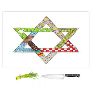 Artistic Kitchen Bar Cutting Boards | Marley Ungaro - Star of David White | Star of David Holidays Channuka