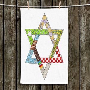 Unique Hanging Tea Towels | Marley Ungaro - Star of David White | Star of David Holidays Channuka