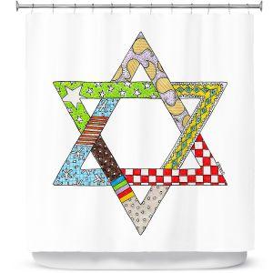 Premium Shower Curtains | Marley Ungaro - Star of David White | Star of David Holidays Channuka