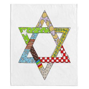 Decorative Fleece Throw Blankets | Marley Ungaro - Star of David White | Star of David Holidays Channuka