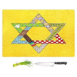 Artistic Kitchen Bar Cutting Boards | Marley Ungaro - Star of David Yellow | Star of David Holidays Channuka