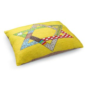 Decorative Dog Pet Beds | Marley Ungaro - Star of David Yellow | Star of David Holidays Channuka
