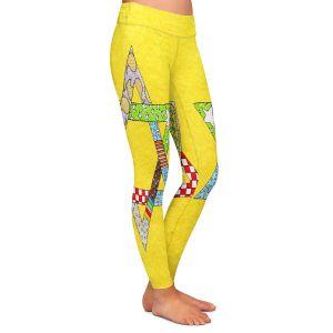 Casual Comfortable Leggings | Marley Ungaro - Star of David Yellow | Star of David Holidays Channuka