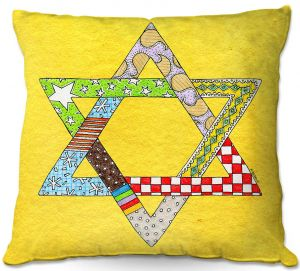 Throw Pillows Decorative Artistic | Marley Ungaro - Star of David Yellow | Star of David Holidays Channuka