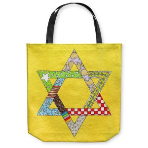 Unique Shoulder Bag Tote Bags | Marley Ungaro - Star of David Yellow | Star of David Holidays Channuka