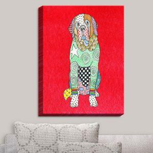 Decorative Canvas Wall Art   Marley Ungaro - Saint Bernard Red   Animals Dogs Pets Colorful Funky St. Bernard
