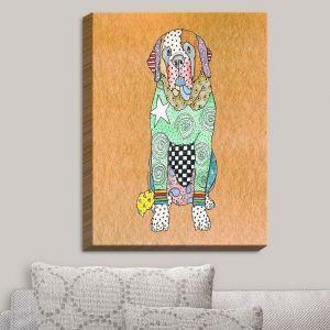 Decorative Canvas Wall Art | Marley Ungaro - Saint Bernard Tan | Animals Dogs Pets Colorful Funky St. Bernard