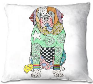 Throw Pillows Decorative Artistic | Marley Ungaro - Saint Bernard White