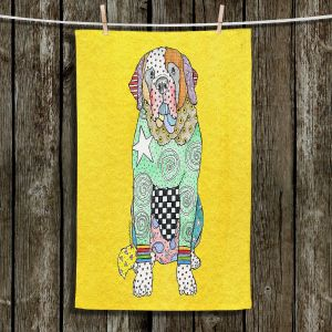 Unique Hanging Tea Towels | Marley Ungaro - Saint Bernard Yellow | Animals Dogs Pets Colorful Funky St. Bernard