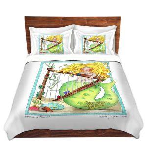 Artistic Duvet Covers and Shams Bedding | Marley Ungaro - Strumming Mermaid