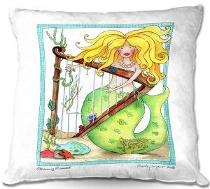 Decorative Outdoor Patio Pillow Cushion | Marley Ungaro - Strumming Mermaid