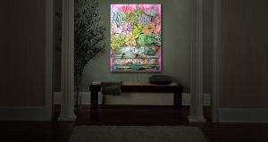 Unique Illuminated Wall Art 20 x 16 from DiaNoche Designs by Marley Ungaro - Succulents