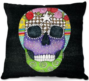 Throw Pillows Decorative Artistic | Marley Ungaro - Sugar Skull Black | Sugar Skull Stylized Childlike Funky