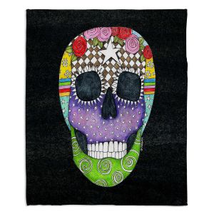 Decorative Fleece Throw Blankets | Marley Ungaro - Sugar Skull Black | Sugar Skull Stylized Childlike Funky
