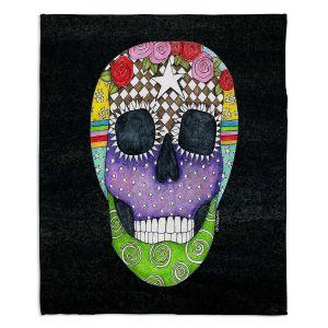 Decorative Fleece Throw Blankets | Marley Ungaro - Sugar Skull Black | Sugar Skull Stylized Childlike Funky