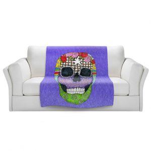 Artistic Sherpa Pile Blankets   Marley Ungaro - Sugar Skull Indigo   Sugar Skull Stylized Childlike Funky
