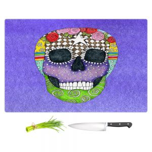 Artistic Kitchen Bar Cutting Boards | Marley Ungaro - Sugar Skull Indigo | Sugar Skull Stylized Childlike Funky