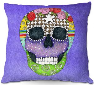 Throw Pillows Decorative Artistic | Marley Ungaro - Sugar Skull Indigo | Sugar Skull Stylized Childlike Funky