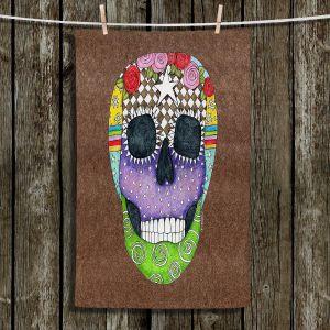 Unique Hanging Tea Towels | Marley Ungaro - Sugar Skull Light Brown | Sugar Skull Stylized Childlike Funky