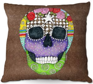 Throw Pillows Decorative Artistic | Marley Ungaro - Sugar Skull Light Brown | Sugar Skull Stylized Childlike Funky