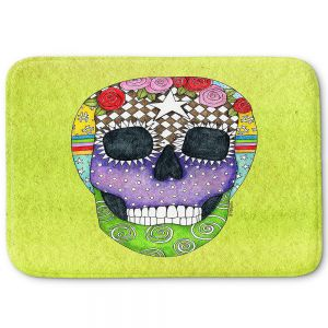 Decorative Bathroom Mats | Marley Ungaro - Sugar Skull Lime | Sugar Skull Stylized Childlike Funky