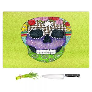 Artistic Kitchen Bar Cutting Boards | Marley Ungaro - Sugar Skull Lime | Sugar Skull Stylized Childlike Funky