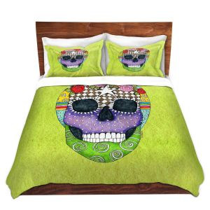 Artistic Duvet Covers and Shams Bedding | Marley Ungaro - Sugar Skull Lime | Sugar Skull Stylized Childlike Funky