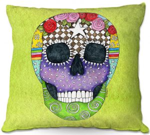 Decorative Outdoor Patio Pillow Cushion | Marley Ungaro - Sugar Skull Lime | Sugar Skull Stylized Childlike Funky