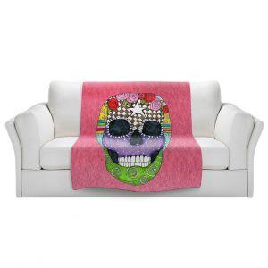 Artistic Sherpa Pile Blankets   Marley Ungaro - Sugar Skull Pink   Sugar Skull Stylized Childlike Funky