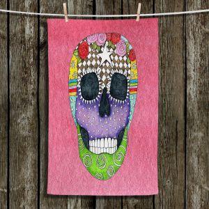 Unique Bathroom Towels | Marley Ungaro - Sugar Skull Pink | Sugar Skull Stylized Childlike Funky