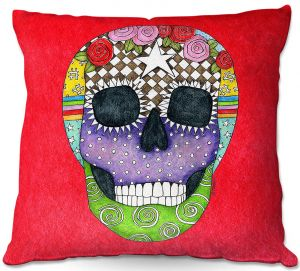 Unique Throw Pillows from DiaNoche Designs by Marley Ungaro - Sugar Skull Red | 16X16
