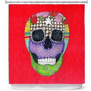 Premium Shower Curtains | Marley Ungaro - Sugar Skull Red | Sugar Skull Stylized Childlike Funky