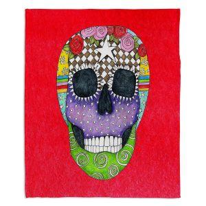 Artistic Sherpa Pile Blankets | Marley Ungaro - Sugar Skull Red | Sugar Skull Stylized Childlike Funky