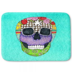 Decorative Bathroom Mats | Marley Ungaro - Sugar Skull Turquoise | Sugar Skull Stylized Childlike Funky
