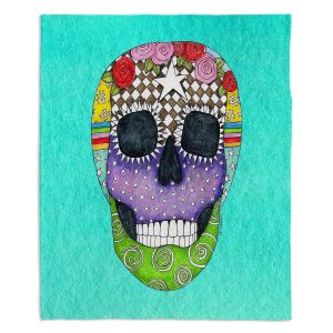 Decorative Fleece Throw Blankets | Marley Ungaro - Sugar Skull Turquoise | Sugar Skull Stylized Childlike Funky